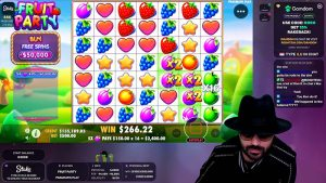 Roshtein playing Fruit Party at Stakes Casino