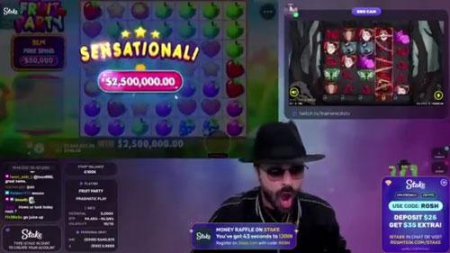 Roshtein Fruit Party 2.5 Million Dollar win