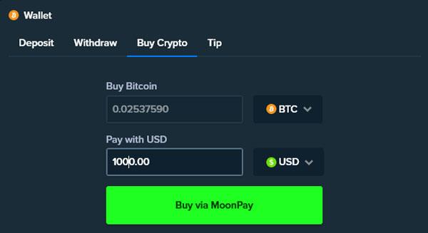Stake Crypto Deposit via MoonPay