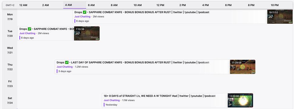 Trainwrecks Twitch Schedule